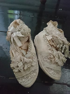 Antique / Vintage Pique Baby Boots With Whitework And Silk
