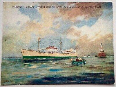 Fredrick T Everard - Passing Hal's Bar after leaving Aalborg on maiden voyage