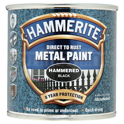 Hammerite Direct to Rust Metal Paint Quick Drying Hammered Black Finish 250ml