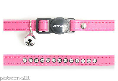 Ancol Bright Pink Cerise Cat Collar Jewel Leather Look + Safety Buckle + Bell