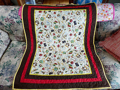 "NEW Handmade Panel / Quilt - 45 x 37"" -- OWLS w School Items Design - Colorful"