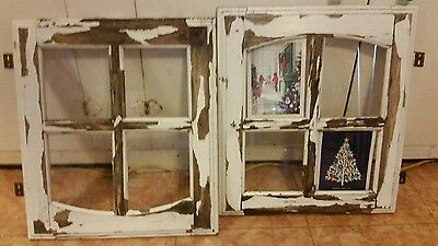 PAIR of (2)  Old Architectural Salvaged PETITE WINDOW Chippy Peely Paint Shabby