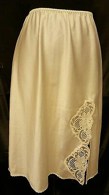 vtg 1960'S LILY OF FRANCE ivory brushed satin HALF SLIP sz M