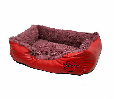 SMALL Soft Comfy REX LEATHER & FUR Washable Dog Pet Cat Warm Basket Bed RED