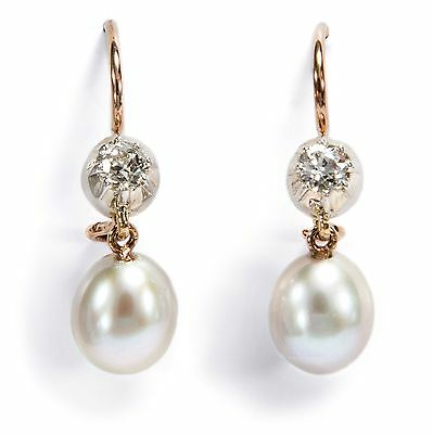 Edle Ohrringe: Tropfen Perlen & Altschliff Diamanten in Silber & Gold / Earrings