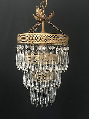Vintage Ornate Three Tier Cascading Prism Wedding Cake French Style Chandelier