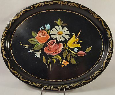 Faux Tole-Oval-Black Metal Tray-Floral Design-Shabby Chic-Folk Art-Mid Century
