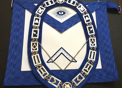 HAND EMBROIDERED MASONIC BLUE OFFICER WORSHIPFUL MASTER APRON and COLLAR