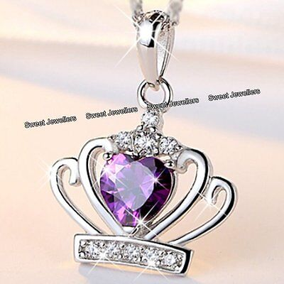 BLACK FRIDAY SALE - Silver & Purple Crystal Heart Crown Necklace Women Xmas Gift