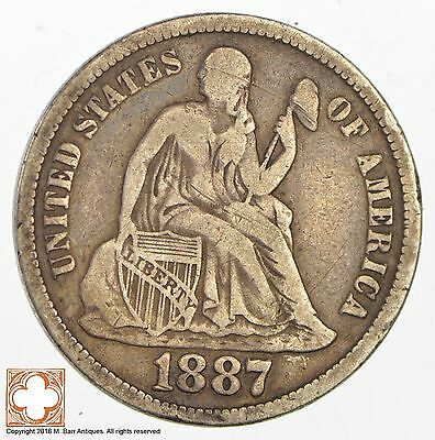 1887-S Seated Liberty Silver Dime *3036