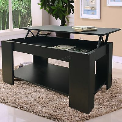 FoxHunter Lift Up Top coffee Table With Storage and Shelf Living Room CT01 Black