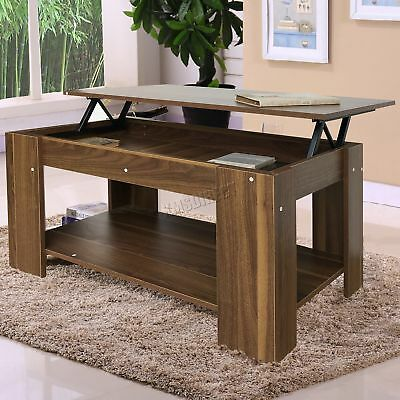 FoxHunter Lift Up Top coffee Table With Storage & Shelf Living Room CT01 Walnut