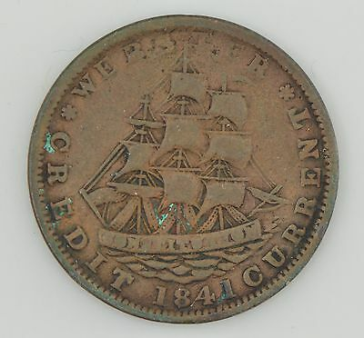 """1841 Hard Times Token Webster Credit Currency/""""Not One Cent For Tribute"""" *Z41"""