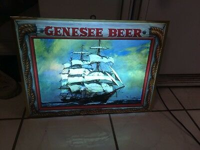 Vintage Mid Century Light Up Genesee Beer Sign. Rare. Great Man Cave Item.