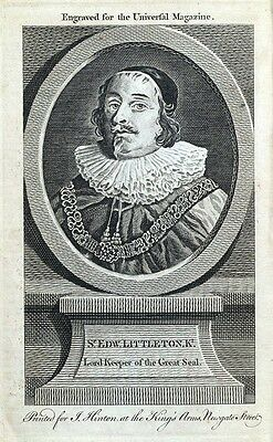 SIR EDWARD LITTLETON, Lord Keeper of the Great Seal antique portrait print 1758