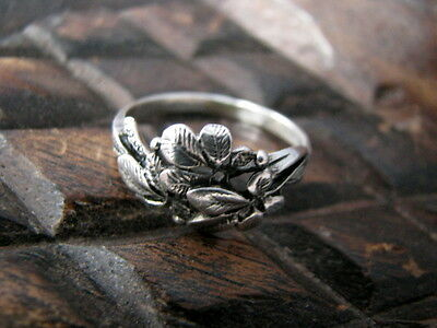 VTG Sterling Silver 925 Russian Floral Ring Small Size 19 Womens USSR halmarked