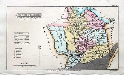 WALES, MONMOUTHSHIRE, Capper  First Edition Hand Coloured Antique Map 1808