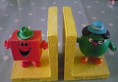 Original 1998 Mr Strong and Little Miss Neat Resin book ends