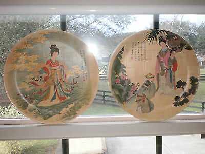 """Decorative Bamboo Tray Plate """"goddess Of The Lo River & The Tipsy Dancer"""" Pair"""