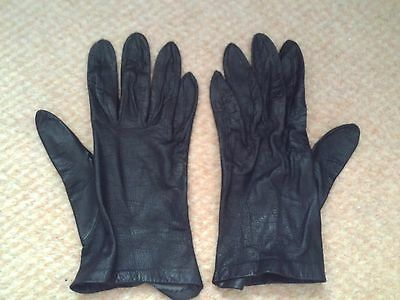 Vintage Black Leather Gloves (small)