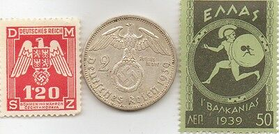 *WWII -- Antique  *german  SILVER  EAGLE  coin +  WWII    STAMPS