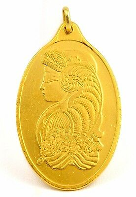 Pamp Suisse Lady Fortuna 1 Troy Ounce .9999 Fine Gold Oval Bar Pendant