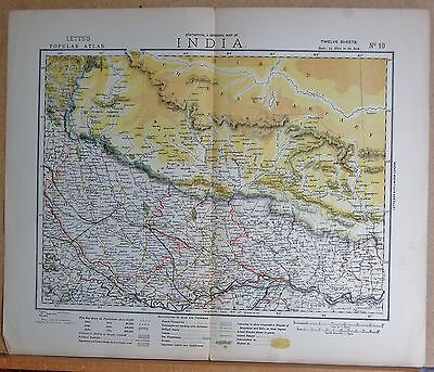 1883  Antique Map India, Lucknow, Champaran Allahabad