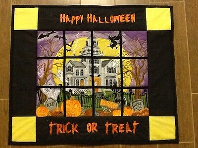 Machine Embroidered Halloween wall hanging finished item
