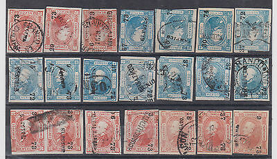 MEXICO 1872 ISSUE 21 stamps interesting cancels