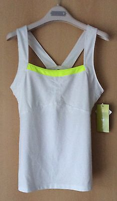PURE LIME SPORT FITNESS TOP WEIß/LIME Gr. 38 (M) UK 10-12