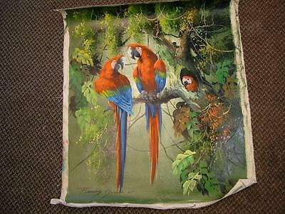Stunning Large Original Oil on Canvas Painting of Parrots. Signed