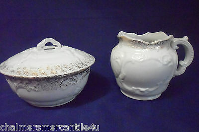 Wyoming Restaurant Ware Creamer & Sugar Bowl with Lid Cover White Gold Butter