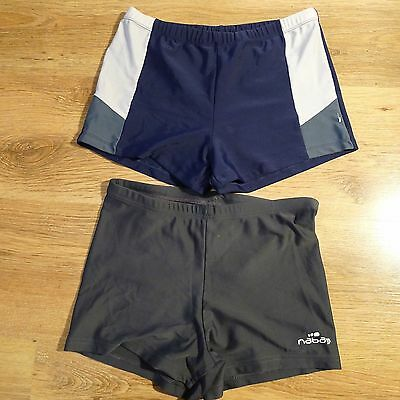 2X Boys Grey & Blue Shorts Boxer Style Swimming Trunks Age 13/ 14