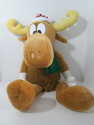 "1996 Bullwinkle Moose Plush 24"" Stuffed Animal with Christmas Hat Gloves & Scarf"