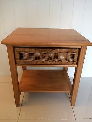 Small Side Table With Wicker Drawer