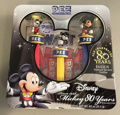 Sealed PEZ Collectors Edition Mickey Mouse 80 Years w/ Vintage Mickey poster