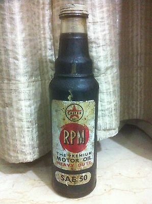 CALTEX RPM SAE 50 MOTOR OIL GLASS BOTTLE ENAMELLED & EMBOSSED LABEL 1930s XMAS