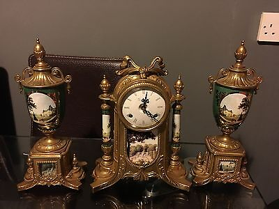 Garniture Clock Set Mantle Franz Hermle,