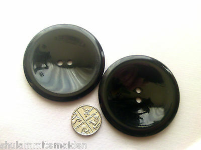 2 Extra Large Shiny Black Coat Buttons 2 inches wide (5 cm)