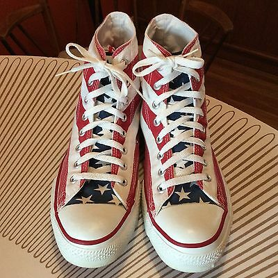Vintage DEADSTOCK Converse Hi Top all star American Flag Made in USA Shoes 10.5