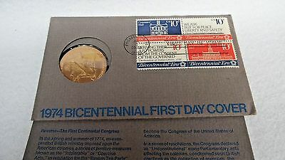 1974 Bi Centennial First Day Cover With Token Unused