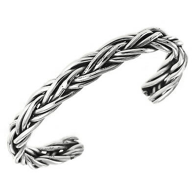 TAXCO 925 SILVER BRAIDED CUFF BRACELET-Mexico Sterling Silver
