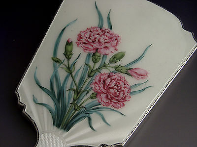 Beautiful English Sterling Silver Enamel Dressing Table Mirror 1965 Carnations