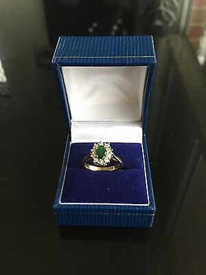 Solid Gold 9ct Natural Emerald & Diamond Ring Not Scrap