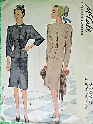 Vintage 1940's McCall Misses Two-Piece Suit Dress Size 12 Complete Pattern