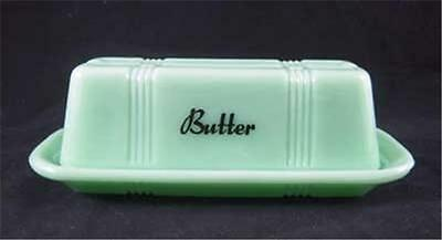 Jadeite Glass Stick Butter Dish