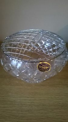 Vintage 1980's Bohemia Crystal Hand Cut Rose Bowl With Box