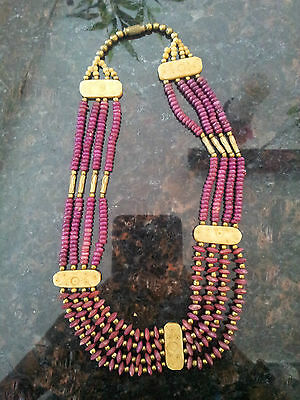 vintage mauve brass wood beads tribal ethnic rare artisan handmade necklace