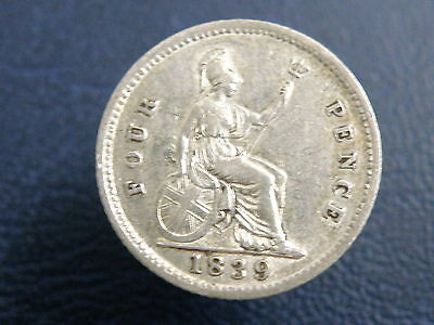 1839 - Queen Victoria - SILVER GROAT FOURPENCE COIN - Good Detail