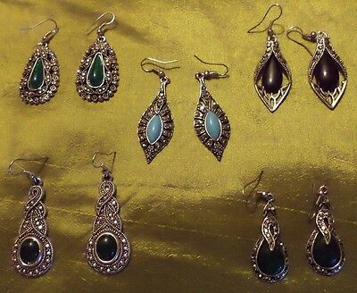 Mixed/job lot Vintage/deco look diamante/beaded costume 5 pairs earring/earrings